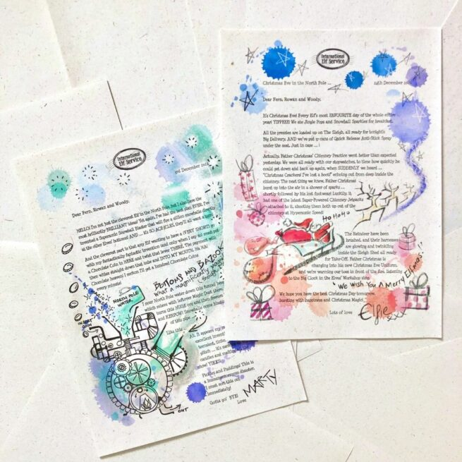 Beautifully handcrafted and eco-friendly pages from Elfie's Christmas Advent Calendar Letters 8th Edition 2021 from International Elf Service. Enjoy hearing all the news from the Christmas Elves up in the North Pole!