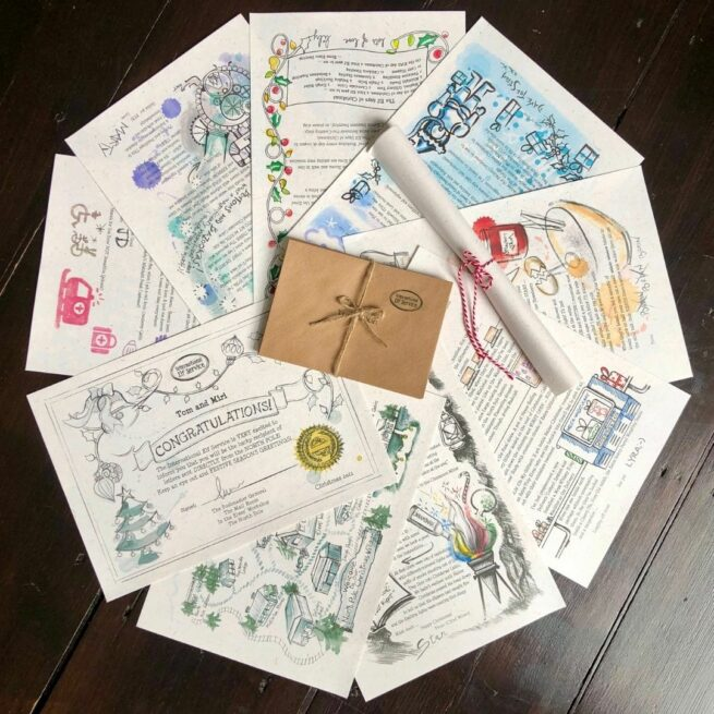 Mini 7-letter News Christmas Elf Letter Bundle from International Elf Service. Christmas elves write with their latest newsy updates from the North Pole as they get ready for Christmas Eve.