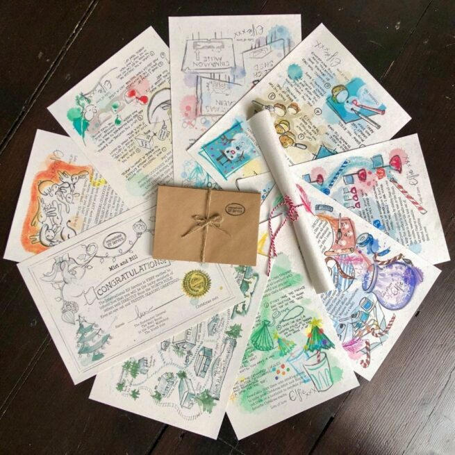Mini 7-letter Christmas activities Elf Letter Bundle from International Elf Service. Christmas elves write with their latest newsy updates from the North Pole as they get ready for Christmas Eve. For 3-5 year olds.