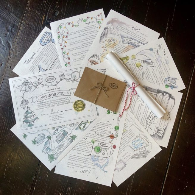 A bundle of 7 letters written by a Christmas Elf in the North Pole for a magical Advent tradition from International Elf Service