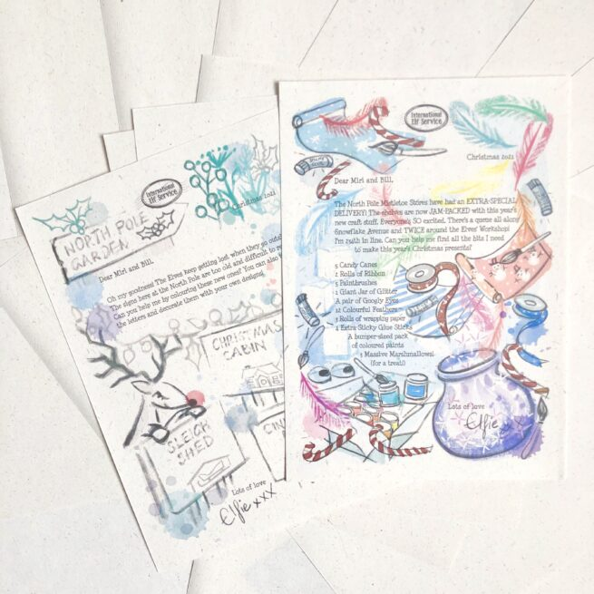 Mini 7-letter Christmas activities Elf Letter Bundle from International Elf Service. Christmas elves write with their latest newsy updates from the North Pole as they get ready for Christmas Eve. For 3-5 year olds. A colouring in and spot the Christmassy items.