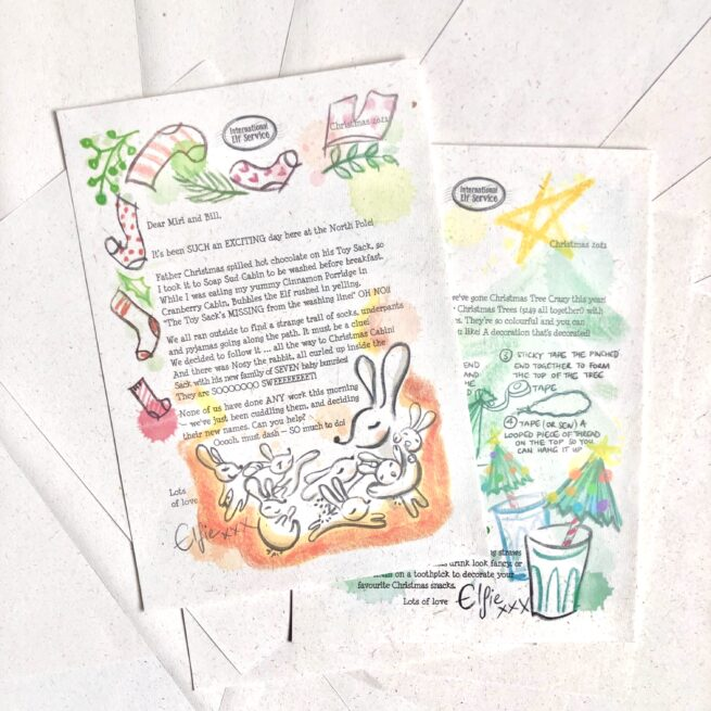 Mini 7-letter Christmas activities Elf Letter Bundle from International Elf Service. Christmas elves write with their latest newsy updates from the North Pole as they get ready for Christmas Eve. For 3-5 year olds. A story and a craft.