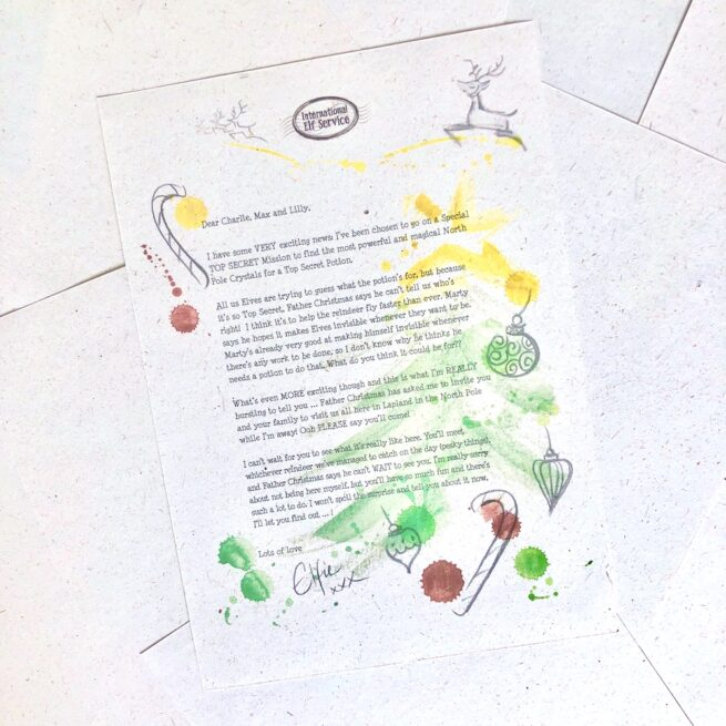 A wonderfully magical and personalised Invitation to Lapland inviting your children to Lapland from the International Elf Service. This letter written by a Christmas Elf makes a very magical Lapland reveal for your children. On 100% recycled paper and hand-drawn illustrations.