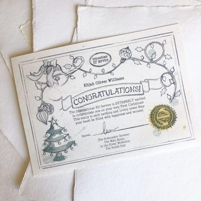 Certificate for Baby's First Christmas Gift from International Elf Service.