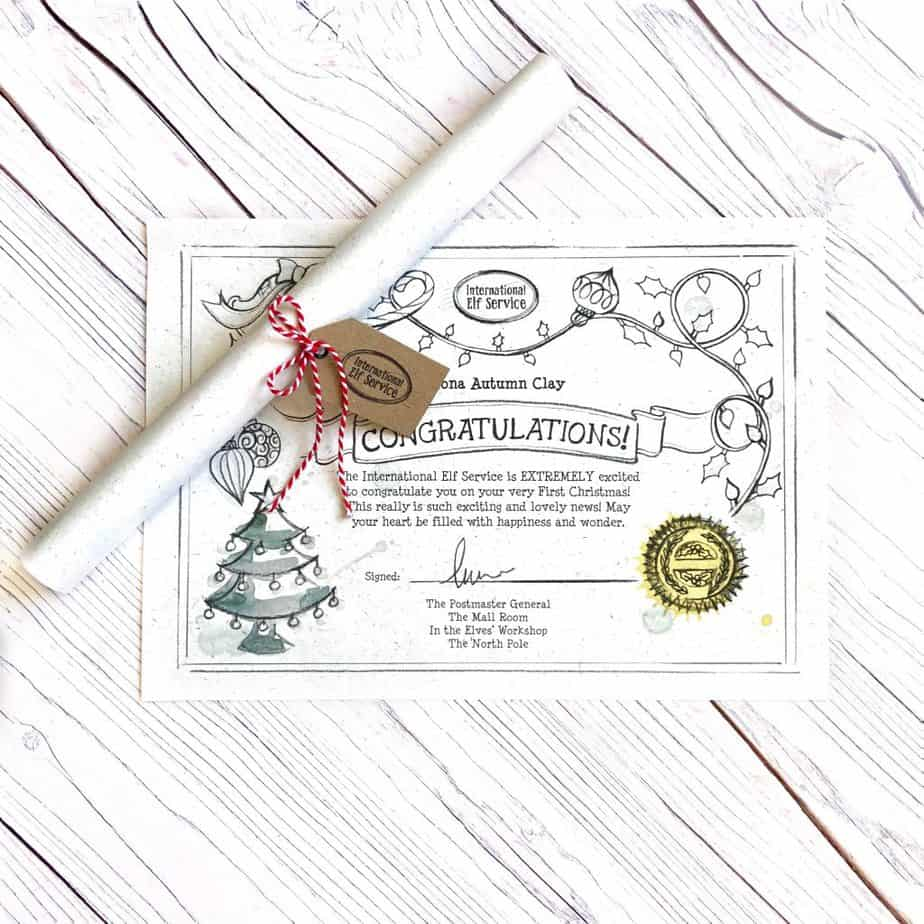 Certificate for Baby's First Christmas