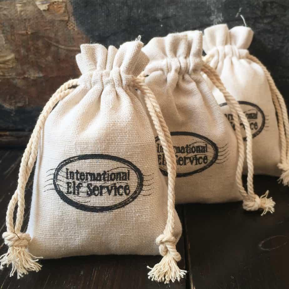 Elf Christmas Gift Bags.Natural Linen Christmas Gift Bags International Elf Service