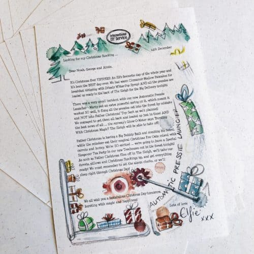 A personalised Christmas Elf Letter for the whole family. What's happening in the North Pole on Christmas Eve this year? 100% recycled paper eco-friendly gift from the International Elf service