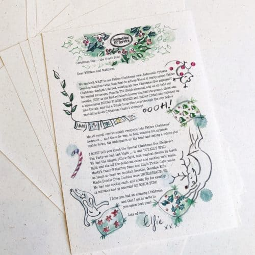 A personalised Christmas Elf Letter for the whole family to hear what happened in the North Pole on Christmas Day this year! 100% recycled paper eco-friendly gift from the International Elf service