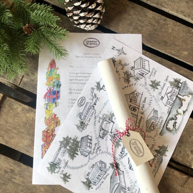 Father Christmas or Santa letter giving his feedback on the drink and snack the children left out for him, along with a handcrafted map of the North Pole Christmas village