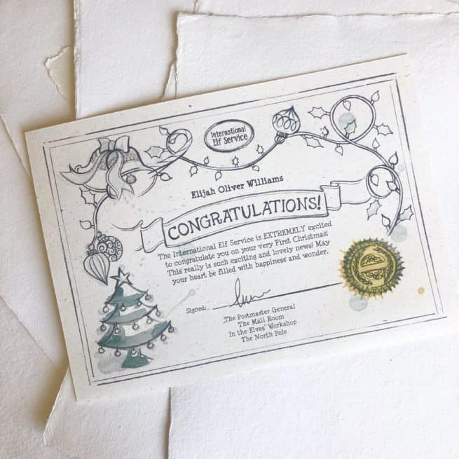 A certificate for Baby's First Christmas is included in the International Elf Service Personalised Baby's First Christmas Memory Box