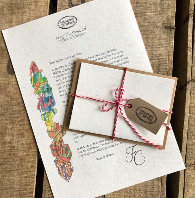 Our personalised letter from Father Christmas in the North Pole comes with a personalised envelope, a length of Candy Cane Twine and an official Internaational Elf Service Gift Tag. Printed on 100% recycled paper.
