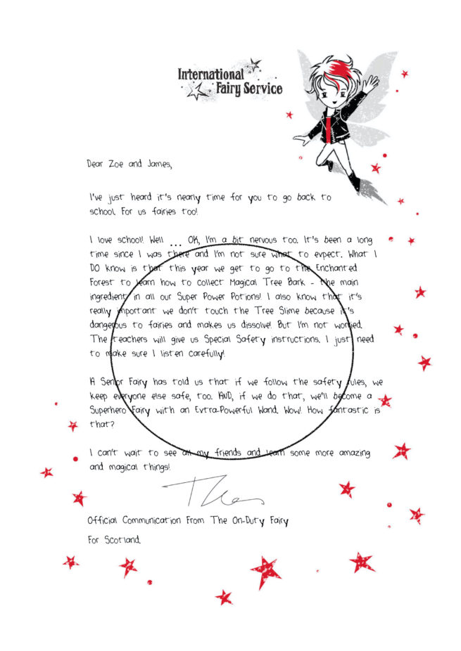 A stunning, personalised Back to School gift letter from the Fairies by International Elf Service