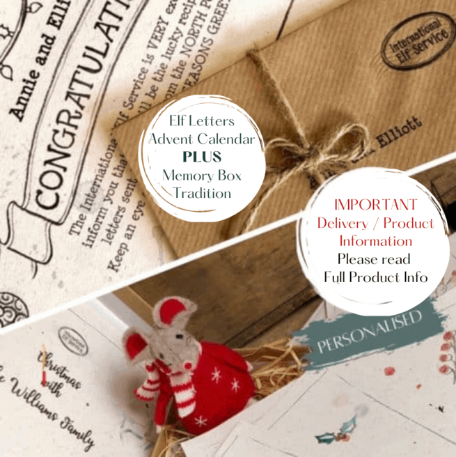 Elfie's Christmas Letters Advent Calendar PLUS a personalised Family Christmas Memory Box Tradition for your family to discover under the Christmas Tree on Christmas Morning.