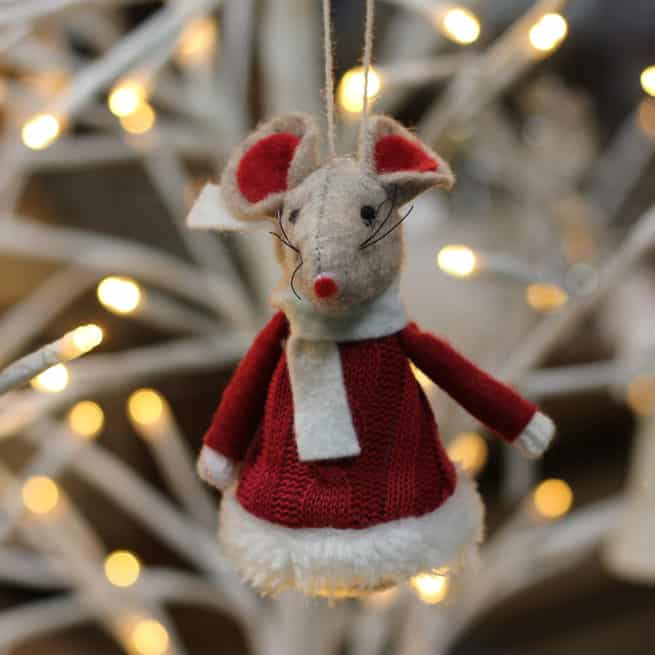 An adorable felt Christmas Mouse wearing a red woollen knitted jumper with faux fur trim from International Elf Service