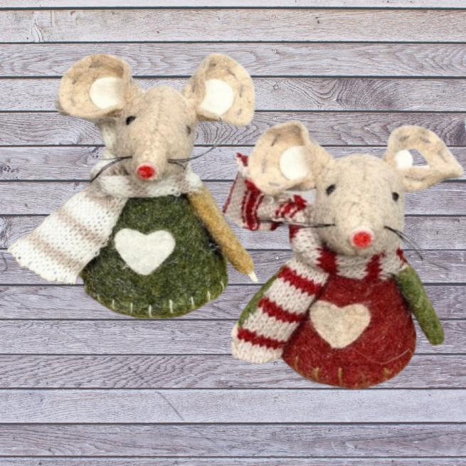 A pair of adorable felt woollen Christmas Mice from International Elf Service - one green and one red mouse