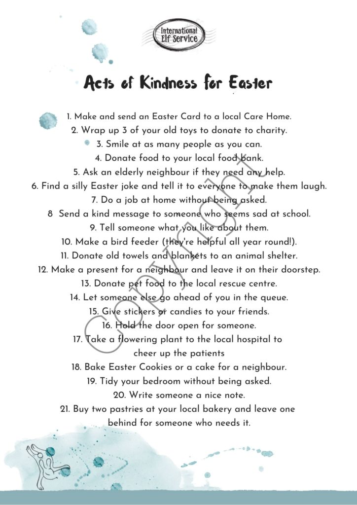 Acts of Kindness for Easter Free Printable from International Elf Service