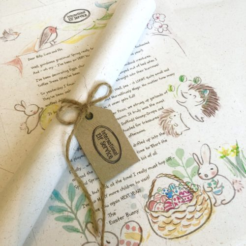 A beautifully personalised, ecorfriendly letter from the Easter Bunny, complete with natural jute twine and a gift tag from International Elf Service