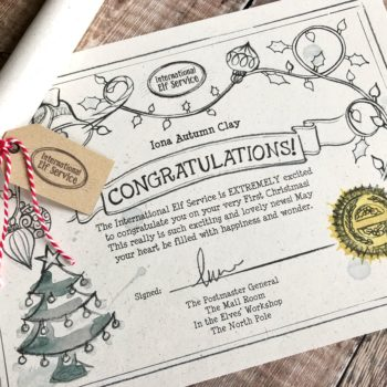 Certificate for Baby's First Christmas by the International Elf Service