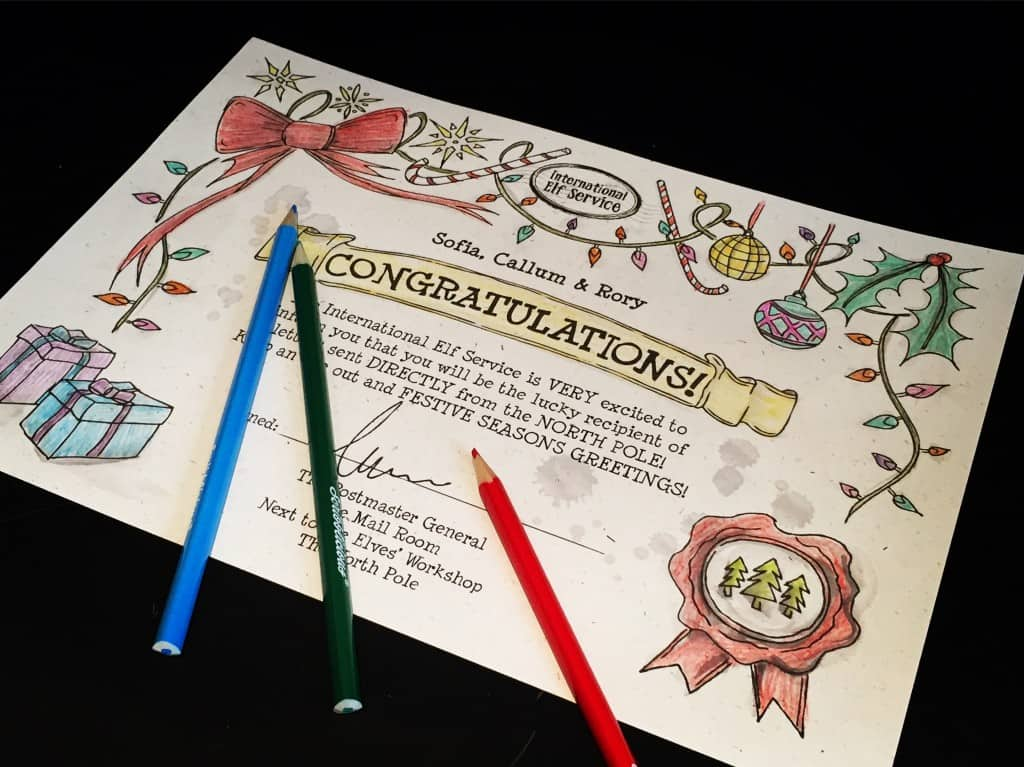 Certificate from the International Elf Service. Perfect for colouring in!