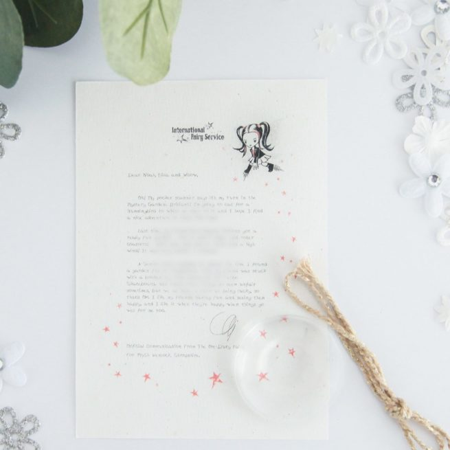 Fairness - Personalised Fairy Letter from the International Elf Service, on 100% recycled paper