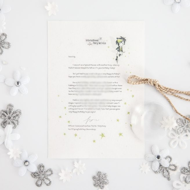 Fairy Birthday Pet Dragon Wish: Personalised FAIRY Letter No. 24 - magical letters on exquisite 100% recycled paper from the International Elf Service