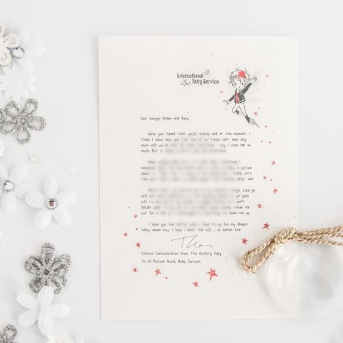 Missing Someone: a personalised, magical Tooth Fairy letter from the International Elf Service. Designed to help support your child's emotional health and development. Perfect for girls and boys. On 100% Recycled Paper.