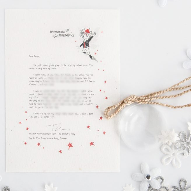 The perfect gift for children starting School: Personalised FAIRY Letter No. 22 - magical letters on exquisite 100% recycled paper from the International Elf Service