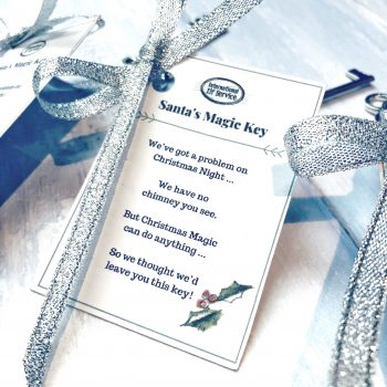 Magic Santa Key - no chimney, no problem! Juts leave this magic key outside your front door on Christmas Eve, and Father Christmas (or Santa) can use his Christmas magic to make it open your front door!