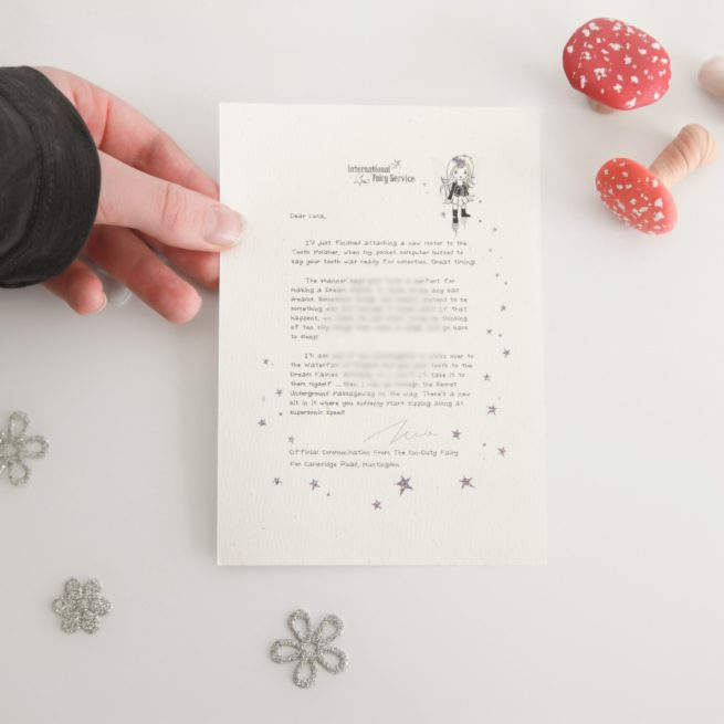 A bereavement bundle of personalised Fairy Letters from International Elf Service