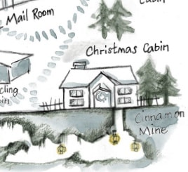 Map of the North Pole Village - by the International Elf Service. Hand-drawn!