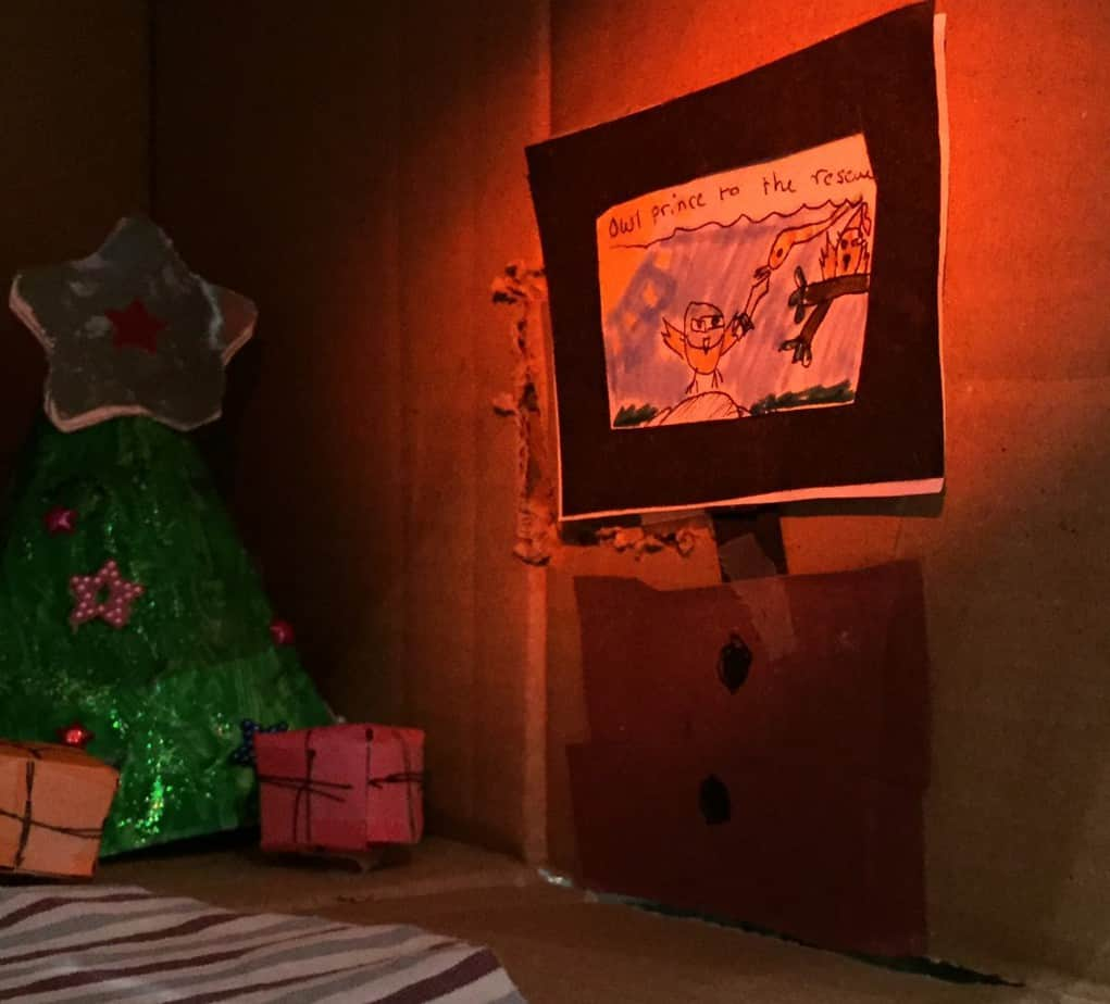 Making magical and cosy Christmas houses out of cardboard boxes! Includes how to make a 'Cone Christmas Tree'...