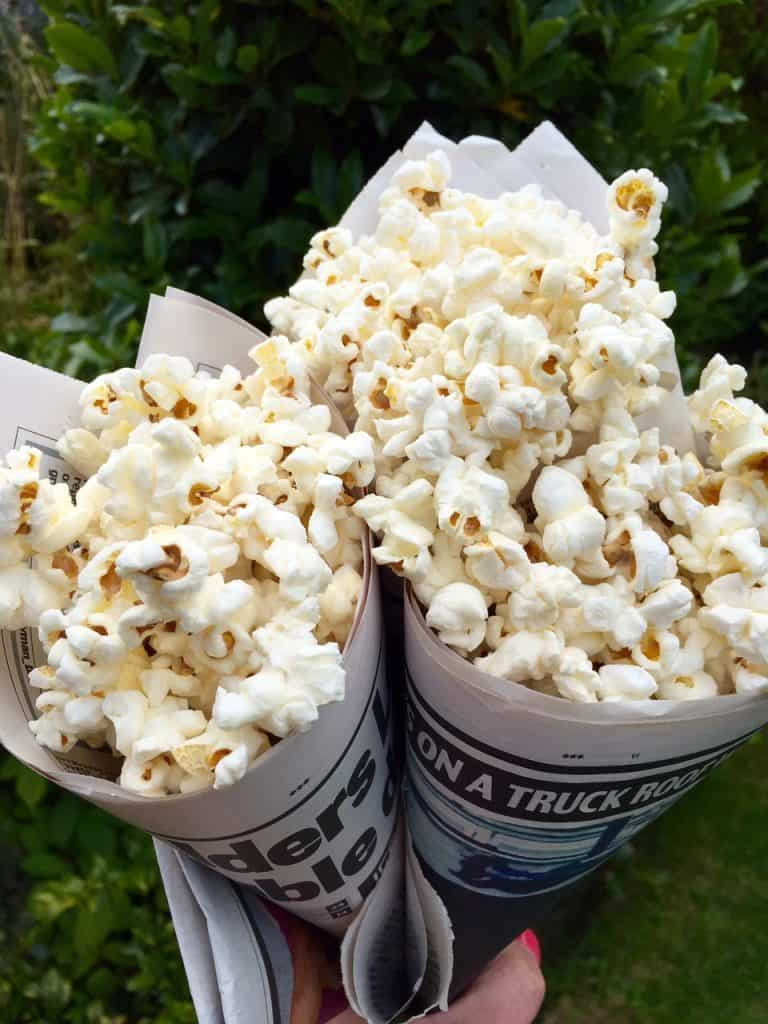Homemade Popcorn in Newspaper Cones - perfect for all occasions!