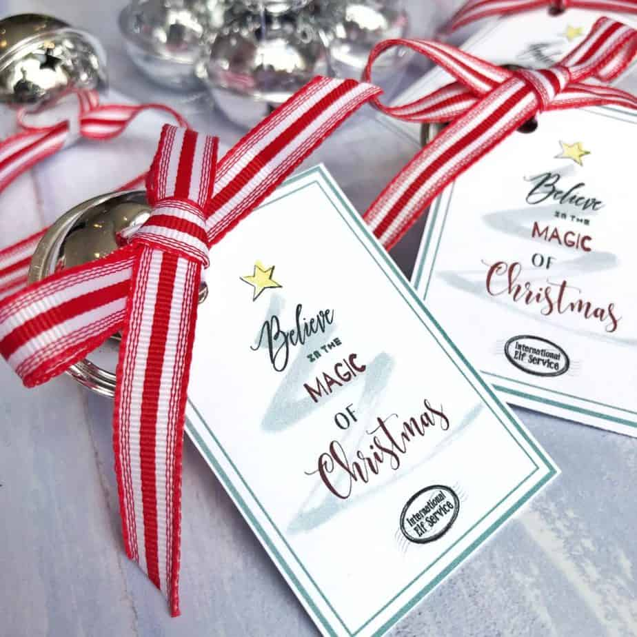 Silver-coloured Magical 'Believe' Christmas Sleigh Bell Tag Printable