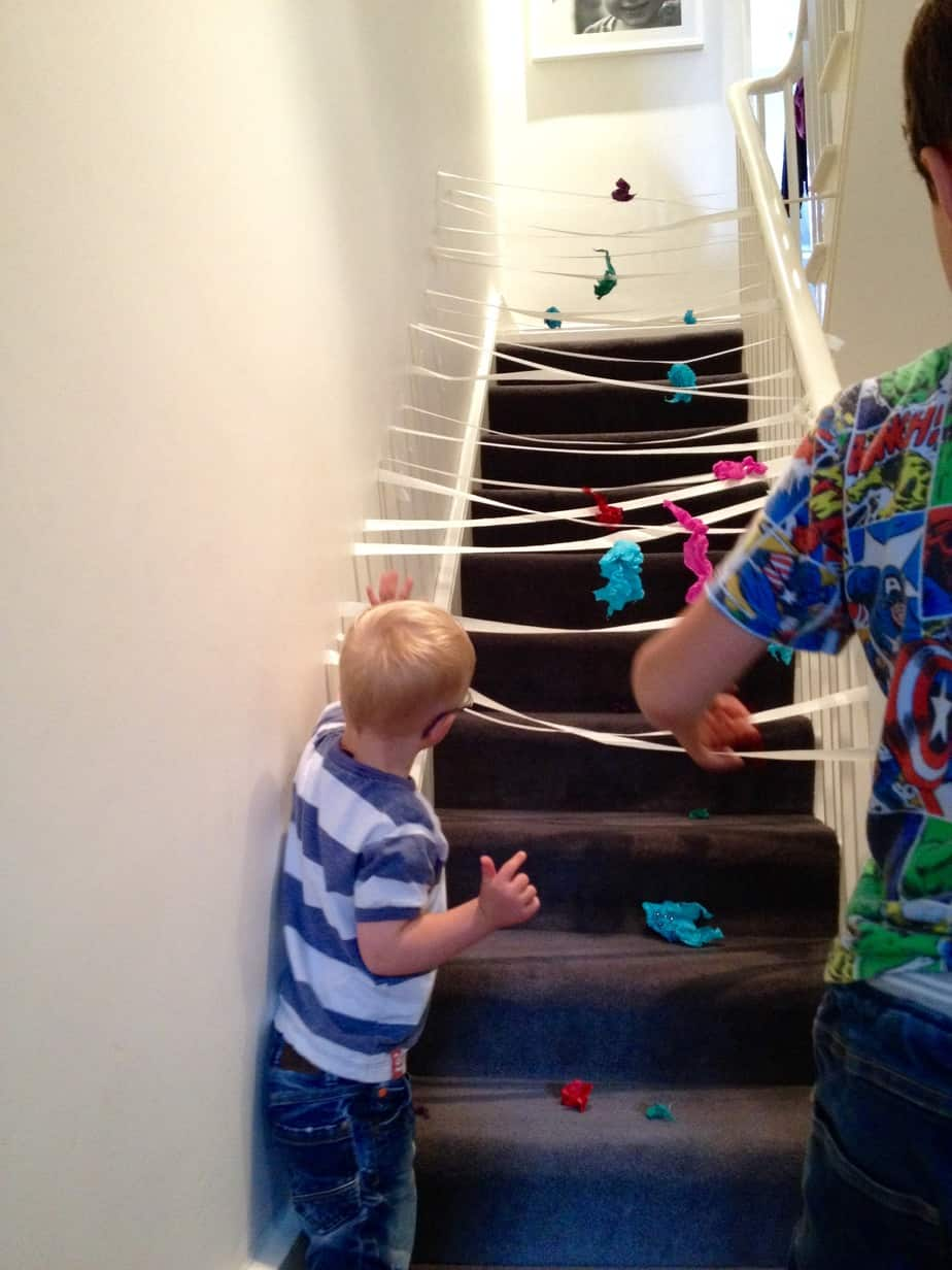 Sticky Spider Web Great Indoor Activity!