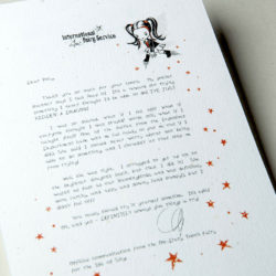 The International Elf Service delivers magical Fairy & Tooth Fairy Letters, designed to support Children's Emotional Health and Development. This Fairy letter is about fighting a fear of failure.