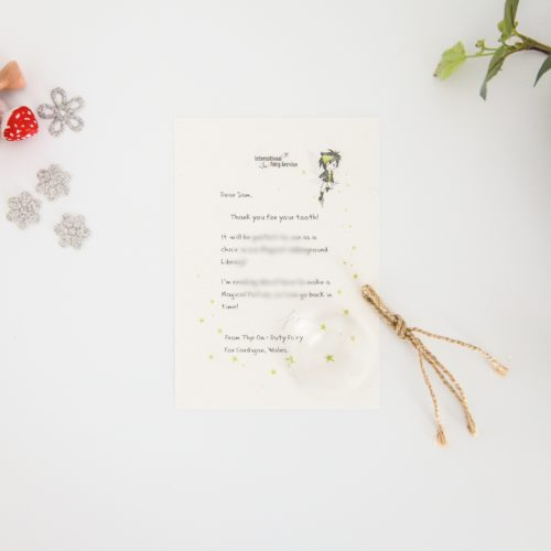Magical Library: a personalised, magical Tooth Fairy letter from the International Elf Service. Designed to help support your child's emotional health and development. Perfect for girls and boys. On 100% Recycled Paper.
