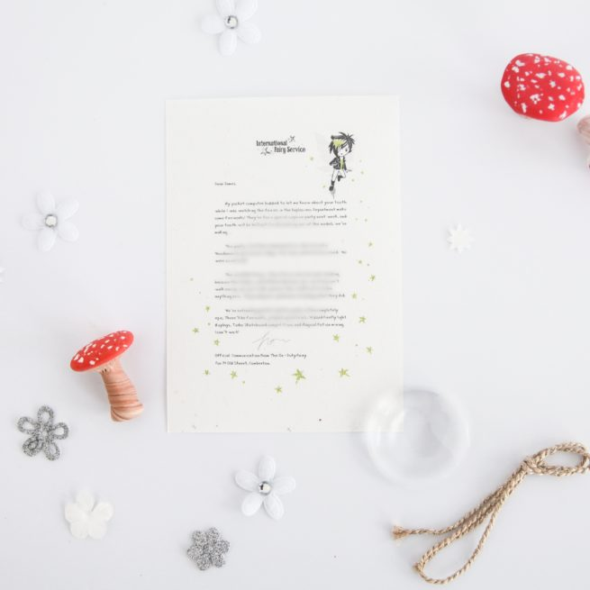 Fairies with Special Needs become heroes - Personalised Fairy Letter from the International Elf Service, on 100% recycled paper