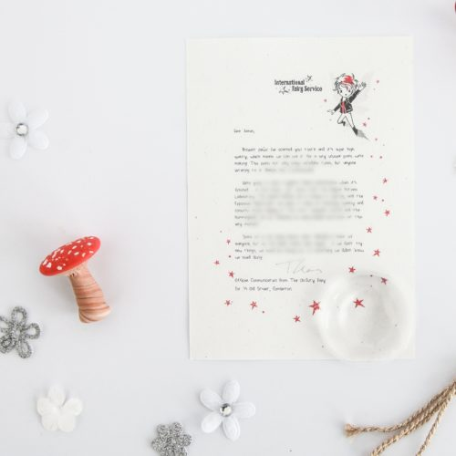 Trying New Things - Personalised Tooth Fairy Letter from the International Elf Service, on 100% recycled paper