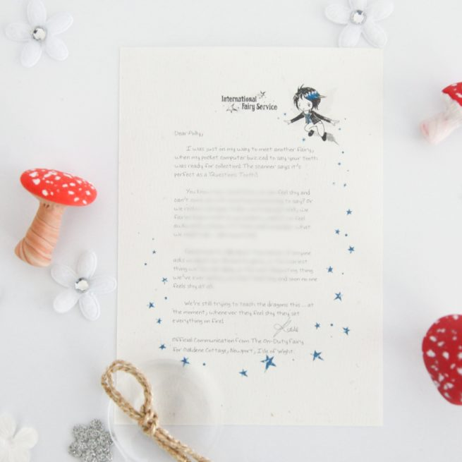 When You Feel Shy: a personalised, magical Tooth Fairy letter from the International Elf Service. Designed to help support your child's emotional health and development. On 100% Recycled Paper