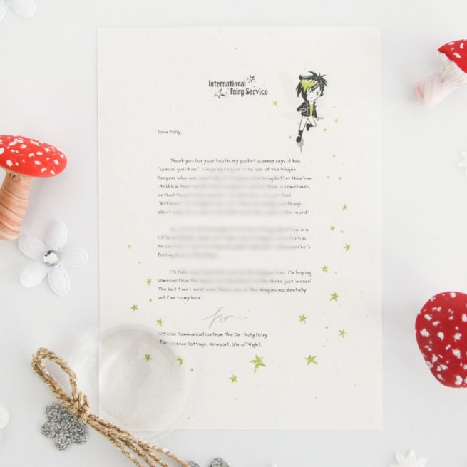 Comparing Yourself To Others: a personalised, magical Tooth Fairy letter from the International Elf Service. Designed to help support your child's emotional health and development. On 100% Recycled Paper.