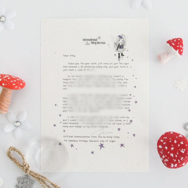 Honesty & Owning Up: a personalised, magical Tooth Fairy letter from the International Elf Service. Designed to help support your child's emotional health and development. Perfect for girls and boys. On 100% Recycled Paper.