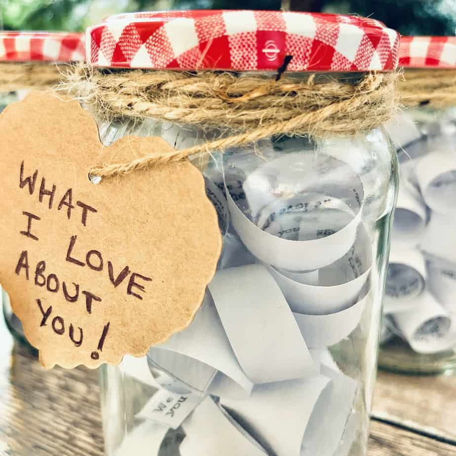 'What I love about you' jars, make such a lovely gift from you to your children. A nurturing idea from the international Elf Service