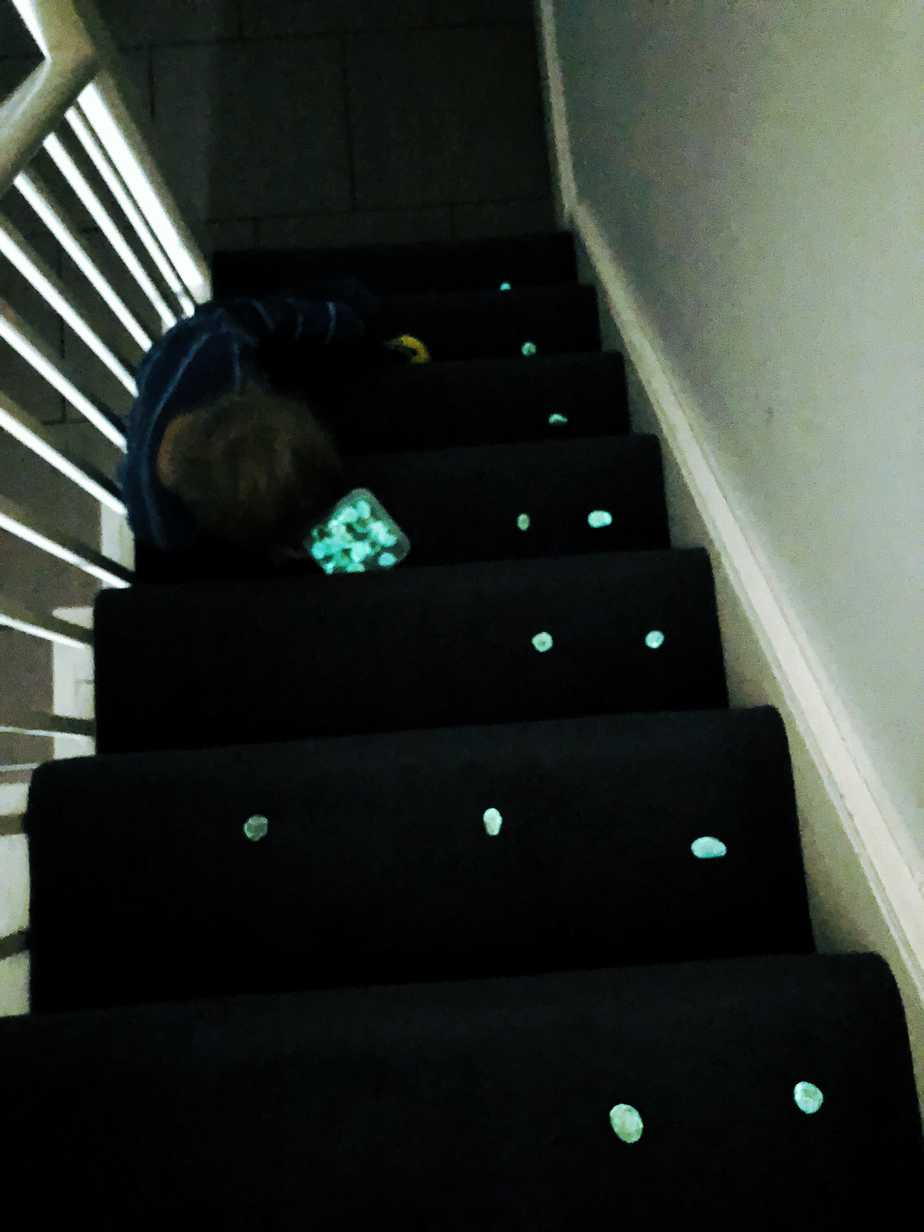 Playing with Wishing Stones the Elves left him in his Christmas Stocking. So easy to make - by the International Elf Service