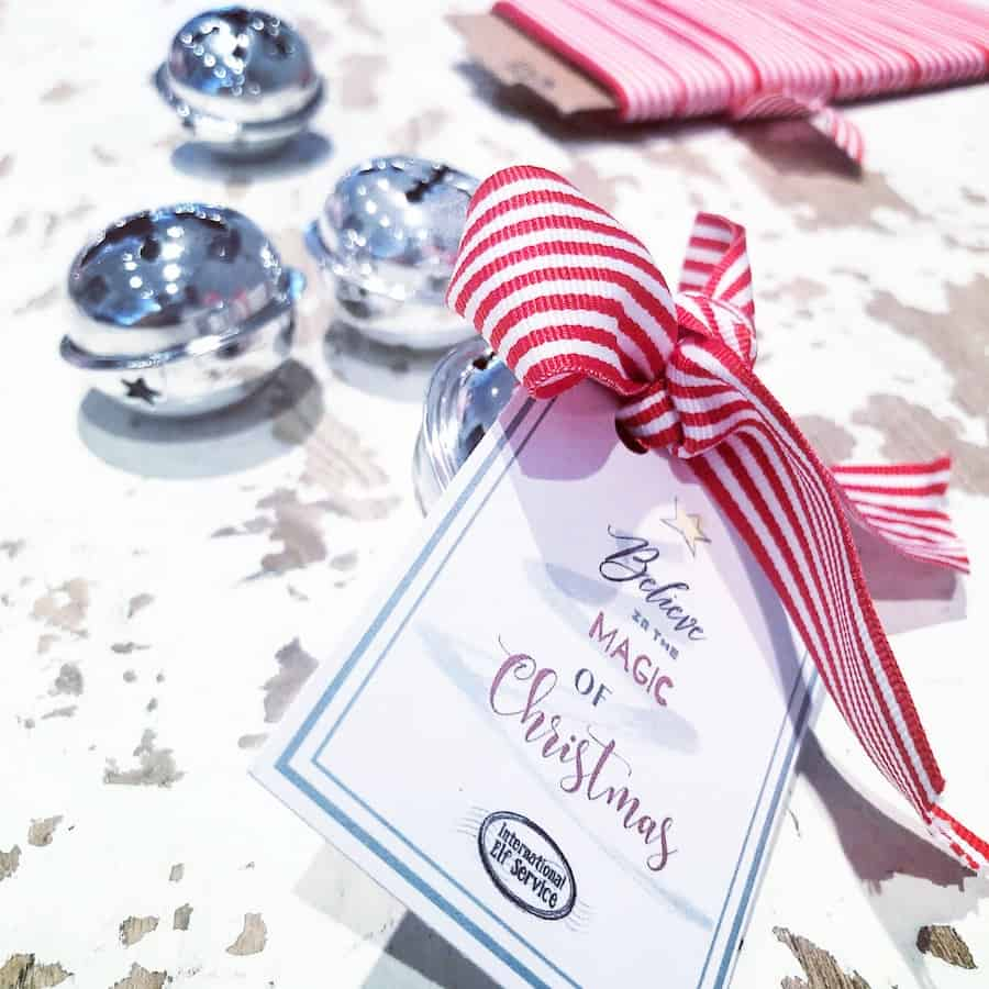 A lovely Christmas Activity and idea for Baby's First Christmas and beyond ... Polar Express I believe Christmas bell tag free printable - Believe In The magic Of Christmas Printable by the international Elf Service